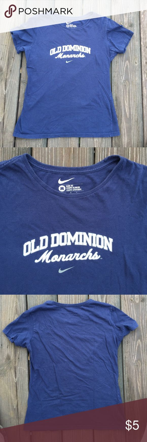 Nike T-shirt Old Dominion University Navy Blue This is an old dominion university Nike T-shirt the material is cotton and is in perfect condition with no stains. Nike Tops Tees - Short Sleeve