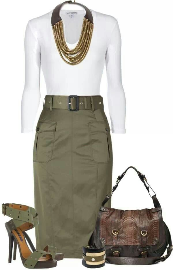 Love the olive green skirt...not sure I'm the tuck-in body anymore! lol