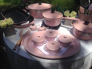 29 Pc Huge Le Creuset Cast Iron Set Chiffon Pink Rare Sold Out