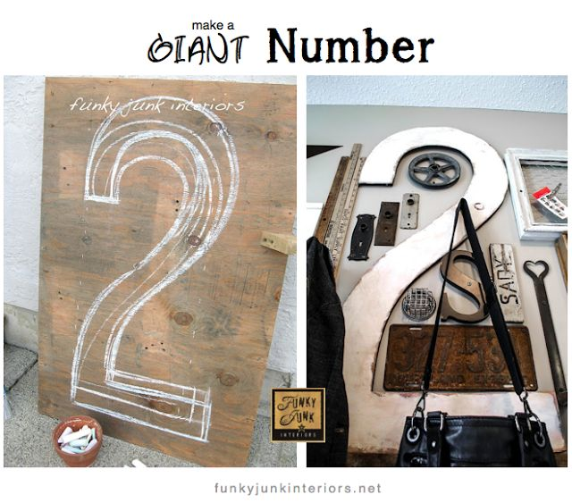 How to make a giant number two... out of plywood. For FREE! via http://www.funkyjunkinteriors.net/: