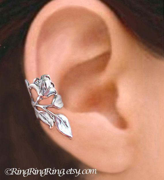 Gardenia flower ear cuff Sterling Silver earrings by RingRingRing