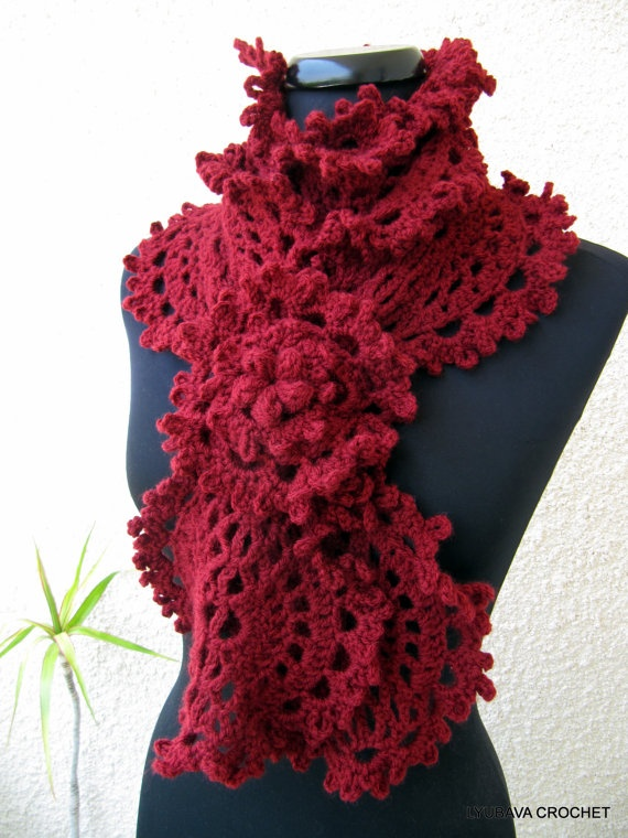 PDF File Crochet Pattern Gorgeous Long Lace Crochet Scarf With Beautiful Flower by Lyubava Crochet, $3.99