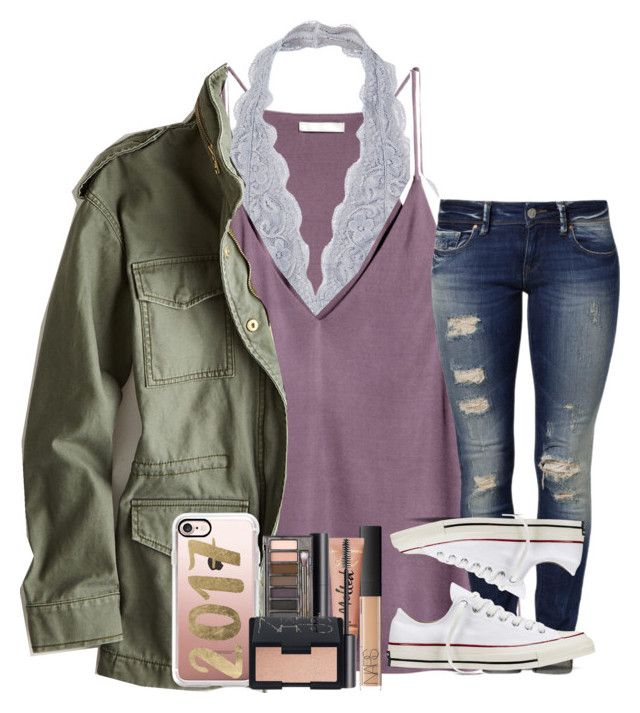 """""""Don't Let The World Decide What's Beautiful"""" by theafergusma ❤ liked on Polyvore featuring H&M, American Eagle Outfitters, Mavi, Converse, NARS Cosmetics, Casetify and Urban Decay"""
