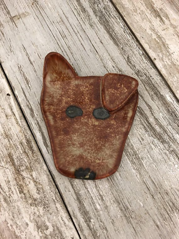Cute Doggie Spoon Rest Dog Is A Mottled Brown Color With Metallic