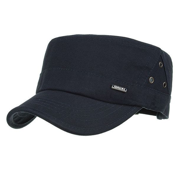 Mens Outdoor Sunshade Cotton Military Cap Casual Adjustable Flat Top Hat With Three Breathable Holes Military Cap Flat Top Hats Casual Cap