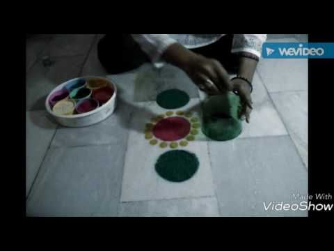 Beautiful n innovative rangoli //creative rangoli design by waste bottle- nidhi jain - YouTube