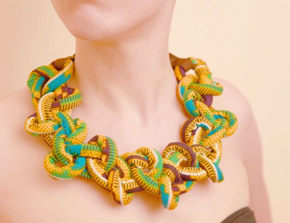 Nice Ankara African fabric necklace. very bright and colourful. definitely statement.