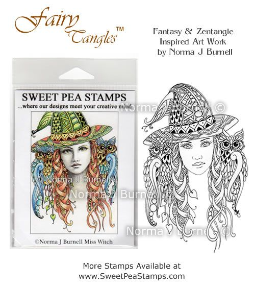 """New release Rubber Stamp for crafting: """"Miss Witch"""" available at https://www.etsy.com/shop/FairyTangleArt  or at http://sweetpeastamps.com"""