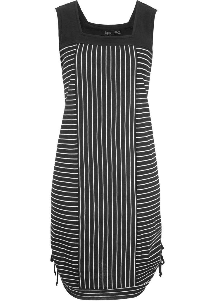 Baumwoll-Kleid mit Raffung seitlich, gestreift