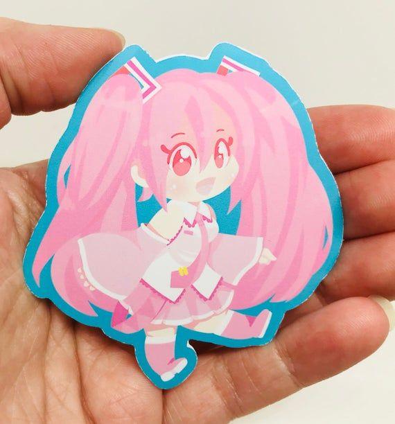 Miku Hatsune Sakura Miku Sticker Glossy Vinyl Vocaloid Etsy In 2021 Cute Stickers Sakura Miku