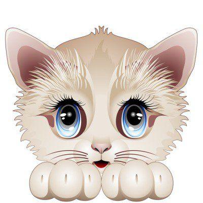 Muursticker Leuk Katje stripfiguur-Gatto Gattino Cucciolo-Vector