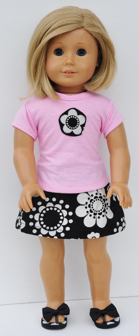 American Girl Black and White Flower Skirt and Pink Tshirt. $24.00, via Etsy.