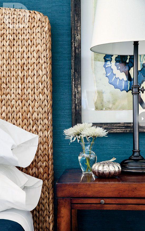Coastal bedroom with textural details. #blue, #rattan