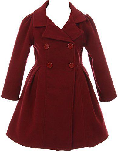 c0fe475629f3c BluNight Collection Girls Dress Coat Long Sleeve Button Pocket Long Winter  Coat Outerwear 2-14