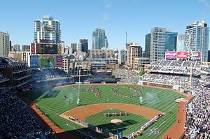 Petco Park is an open-air ballpark in downtown San Diego, California, USA. It opened in 2004, replacing Qualcomm Stadium as the home park of Major League Baseball's San Diego Padres.