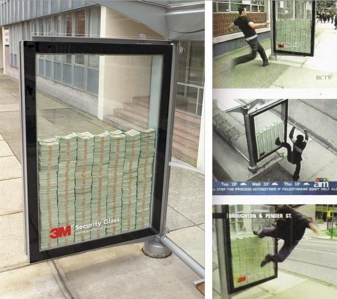 Anúncio promovendo a segurança dos vidros a prova de balas da 3M