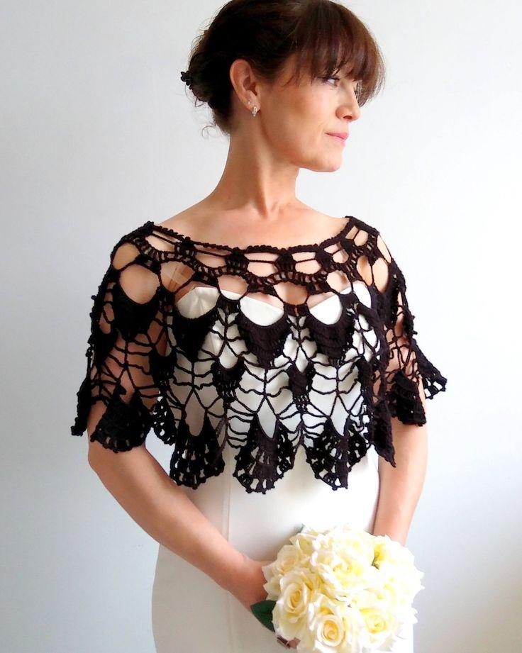 Black summer poncho, black capelet, lacy poncho, bridal poncho, wedding poncho, gift for her, fast shipping, ready to ship by Minnoshko on Etsy