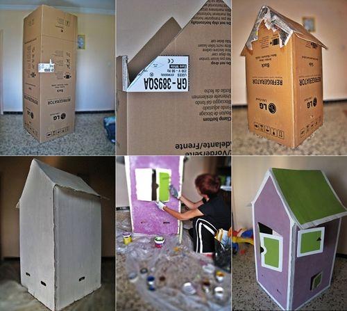 casita carton diy Diy: Como hacer una casita infantil de cartón con una caja