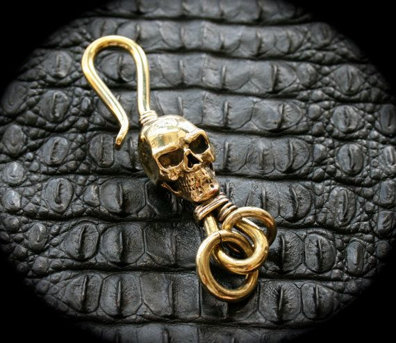 Skull Brass Hook Key Chain/Key Holder Spooky Steampuck  by Mygoth