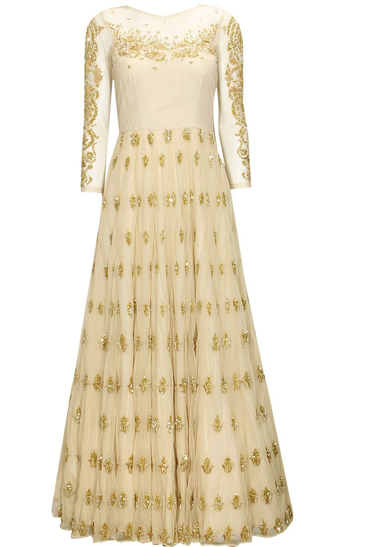 Off white sequins embroidered anarkali gown with white dupatta by Astha Narang. Shop at : http://www.perniaspopupshop.com/designers/astha-narang #shopnow #perniaspopupshop #asthanarang