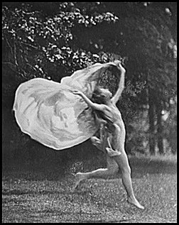 Isadora Duncan, performing to launch her career, in the Berkshires. Duncan was the first American dancer to develop and label a concept of natural breathing, which she identified with the ebb and flow of ocean waves.