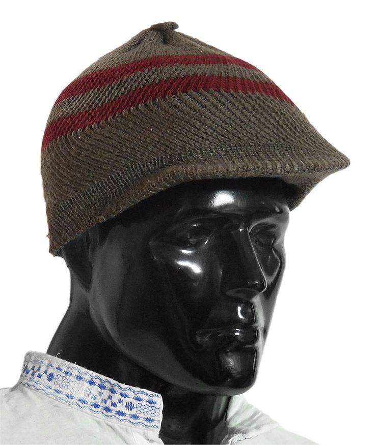Brown With Maroon Woolen Baseball Cap (Woolen)