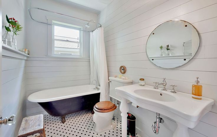 "Cottage Full Bathroom with Console Sink, 'The Cardigan' 72"" Cast Iron Double Ended Clawfoot Bathtub, Rain Shower Head"