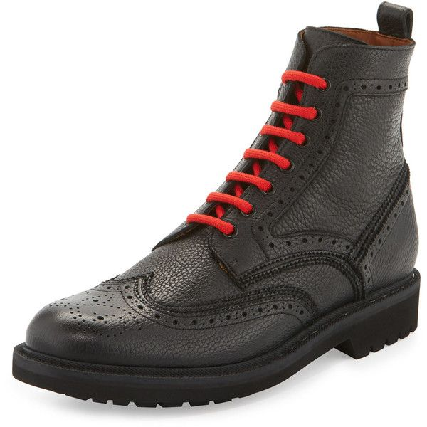Givenchy Leather Wing-Tip Combat Boot with Contrast Laces (130850 RSD) ❤ liked on Polyvore featuring men's fashion, men's shoes, men's boots, black, mens leather lace up boots, mens wingtip shoes, mens black combat boots, mens leather military boots and mens leather combat boots