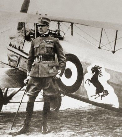 Count Francesco Baracca (9 May 1888 – 19 June 1918) was Italy's top fighter ace of World War I. He was credited with 34 aerial victories.    Baracca's mother presented his prancing stallion emblem, the Cavallino Rampante, to Enzo Ferrari. The prancing horse has been the official symbol of the Scuderia Ferrari racing team since 1929, and of Ferrari automobiles since they began manufacture.