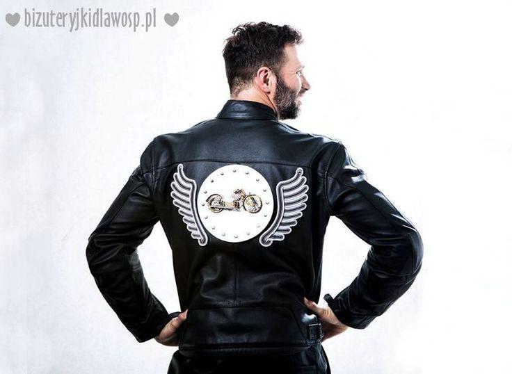 Wild Eagle - motorcycle jacket for charity auction GOCC http://bizuteryjkidlawosp.pl/10_sutasz_pr_6_motokurtka_i_bransoletki/