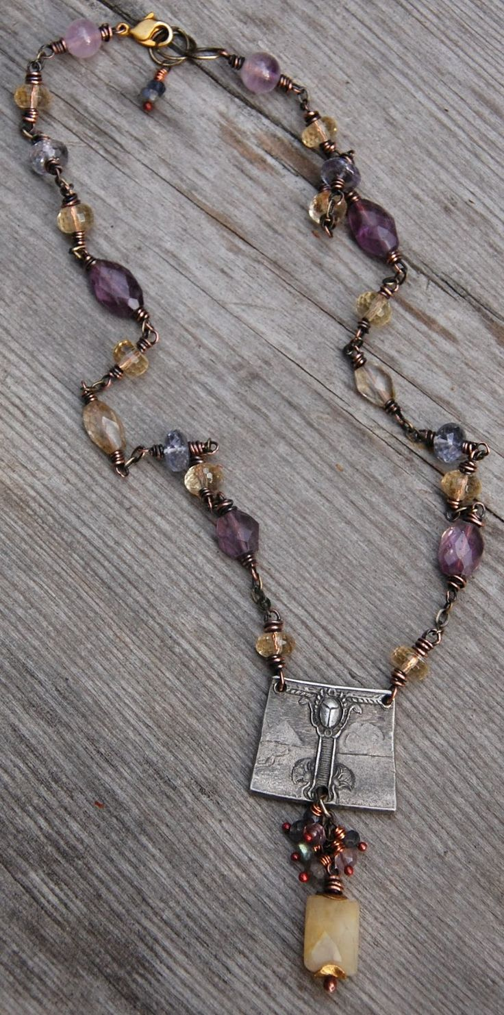 necklace with recycled metal pendant, amethyst, honey jade, citrine and iolite
