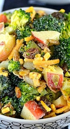 Broccoli Salad with Apples, Sunflower Seeds, Raisins,  and Bacon....