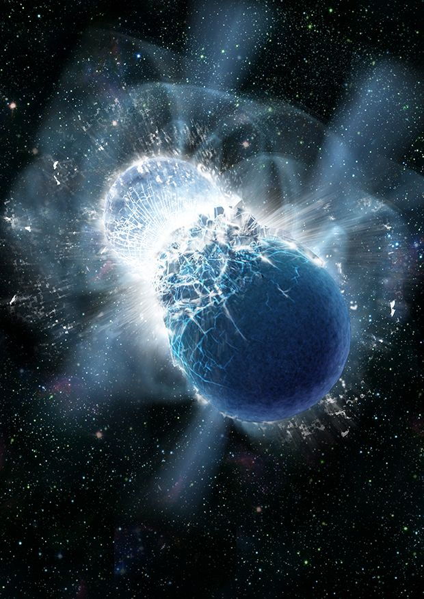 An artist's impression of two neutron stars colliding. Image: Dana Berry, SkyWorks Digital, Inc.
