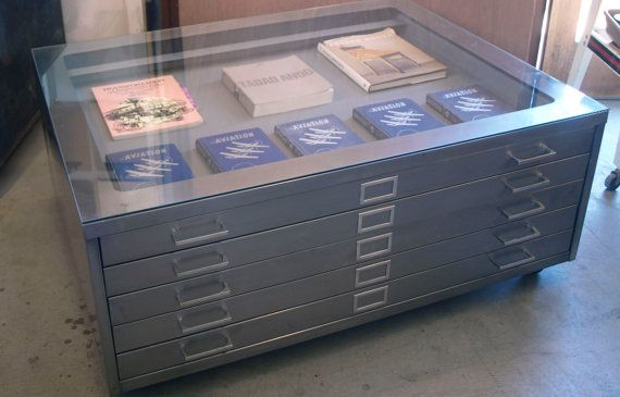Custom Refurbished Three-Drawer Flat File Coffee Table / Upcycled Drafting Cabinet on Etsy, $1,350.00