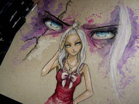 MIRAJANE STRAUSS: Watercolor Time Lapse Painting - Fairy Tail Anime