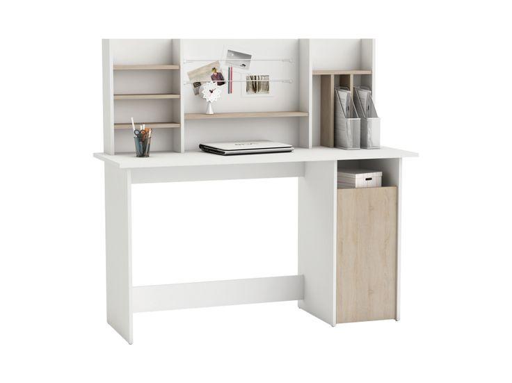 Kontor, skrivbord // bakskivan // AMBRE Skrivbord 135 Vit/Borstad ek i gruppen Inomhus / Kontorsmöbler / Skrivbord hos Furniturebox (100-56-126060)