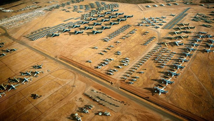 """The """"Boneyard"""" at Davis-Monthan Air Force Base, Arizona, is basically a 2,600-acre parking lot and storage facility for about 5,000 retired military aircraft."""