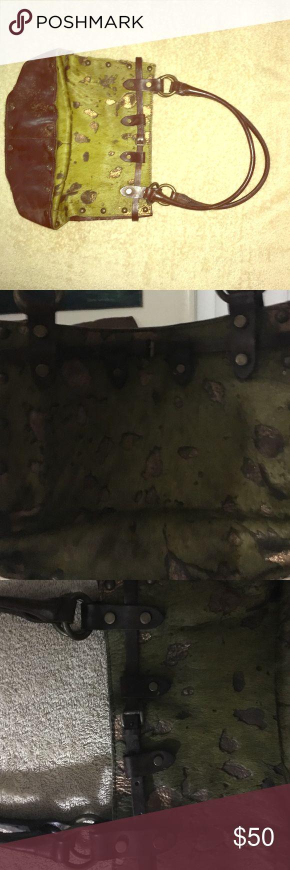 Green & gold fur bag w/ leather & brass hard wear Cow hide Green & Gold leather purse with brass colored hard wear - studded. All dark leather trim. Italian made -Maurizio Taiuti. maurizio taiuti  Bags Shoulder Bags