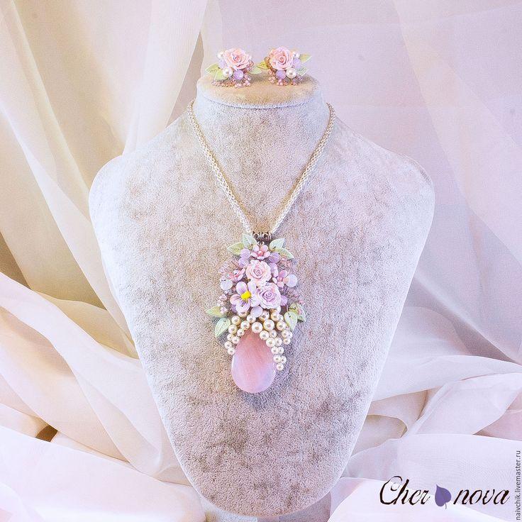 Купить Кулон и серьги Майские цветы - бледно-сиреневый, кулон с розовым кварцем