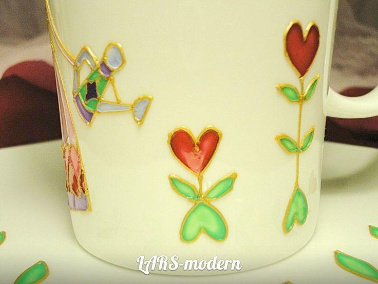 Нeart Аngel - Hand Painted Porcelain LARS-modern. (h-11.0 cm) - $40.0 Сердечный Ангел - Авторская витражная роспись по фарфору от LARS-modern. (h-11,0 cm) - $40.0 / в наличии и под заказ.