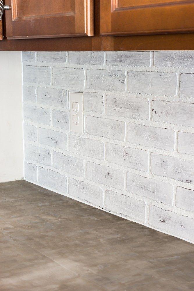 DIY Whitewashed Faux Brick Backsplash House Pinterest