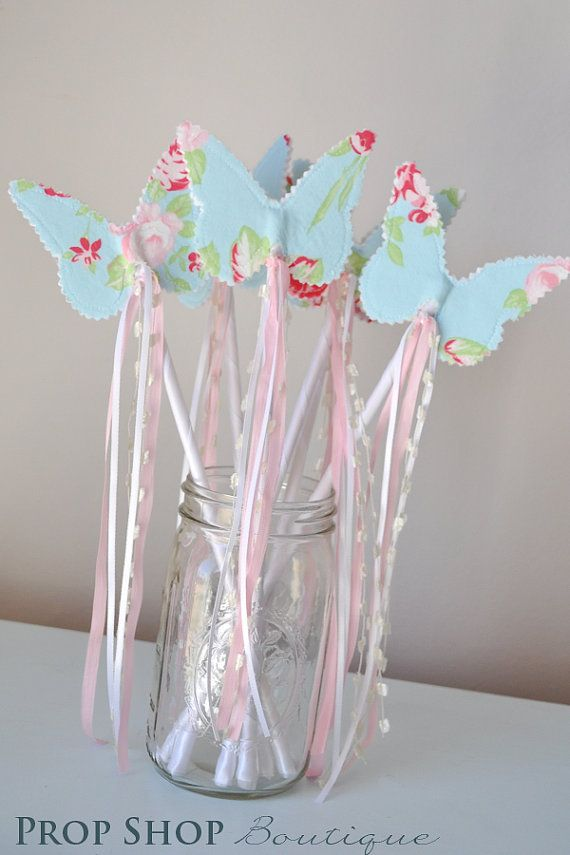Girls Butterfly Wand, Birthday, Party Favor, Dress up, Photo Prop on Etsy, $12.00