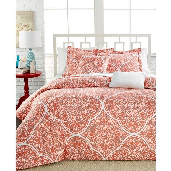 Jackie Printed Cotton 5-Pc. King Comforter Set (155 CAD) ❤ liked on Polyvore featuring home, bed & bath, bedding, comforters, coral, king size bed sets, king bedding, king bedding ensembles, cotton bed set and king size duvet cover sets