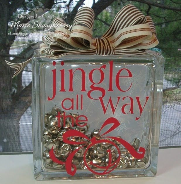 JINGLE BELLS GLASS BLOCK...  This is another of my Decor Elements Glass Block Creations.  I wanted to change it up from the lighted blocks t...