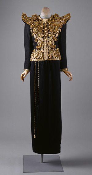 Evening ensemble, spring/summer 1980  Yves Saint Laurent (French, born Algeria, 1936)  Gilt embroidered black silk gazar