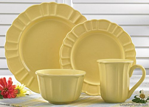 Emily Solid Yellow Dinner Plate, Salad Plate, Cereal Bowl & Ceramic Mug