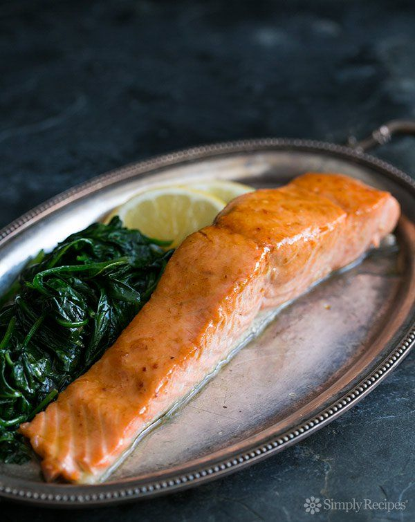 Honey Apple Cider Glazed Salmon ~ Honey Apple Cider Glazed Salmon. Salmon fillets cooked in a honey and apple cider glaze, served over fresh wilted spinach. ~ SimplyRecipes.com