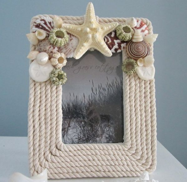Crafts Picture Frame made from shells for your summer vacation photos