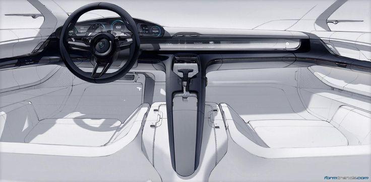 Porsche Mission E interior sketch by Felix Godard