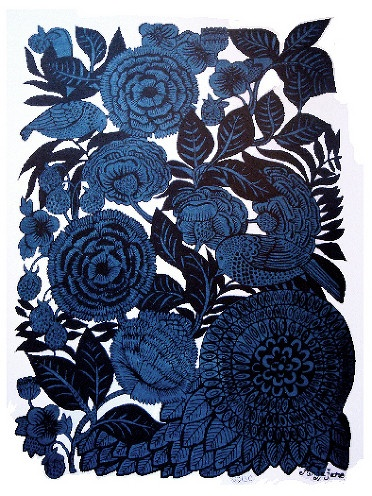 #Pattern by Anja Jane. Blue flowers.